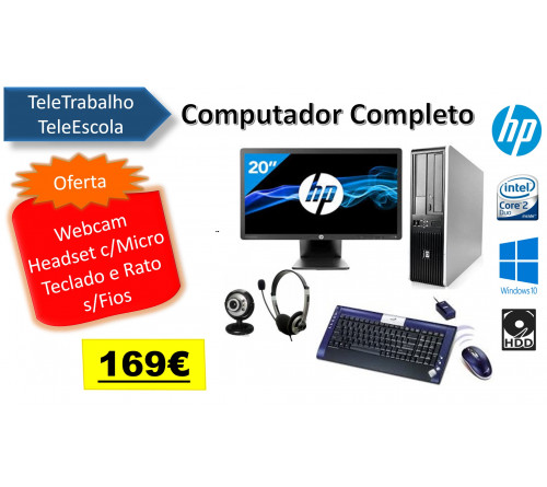 "HP 7900 SFF INTEL Core 2 Duo E5800 3.0Ghz  8GB HDD 500GB  DVDRW  ""GRAU A""  + MONITOR HP EliteDisplay E201 20"" LED Backlit DVI-D, DisplayPort, VGA, USB 2.0 "" GRAU A"" + WEBCAM E HEADSET C/MICRO + TECLADO E RATO GENIUS WIRELESS"