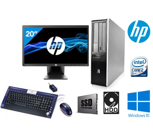 "COMPUTADOR HP 7900 SFF INTEL Core 2 Duo E5800 3.0Ghz  8GB SSD 120GB HDD 500GB  DVDRW  ""GRAU A""  + MONITOR HP EliteDisplay E201 20"" LED Backlit DVI-D, DisplayPort, VGA, USB 2.0 "" GRAU A"" + TECLADO GENIUS WIRELESS"