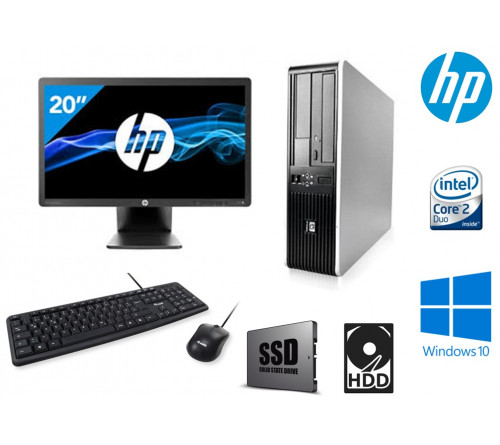 "COMPUTADOR HP 7900 SFF INTEL Core 2 Duo E2200 2.2Ghz  8GB SSD 120GB / HDD 250GB  DVDRW  ""GRAU A""  + MONITOR HP EliteDisplay E201 20"" LED Backlit DVI-D, DisplayPort, VGA, USB 2.0 "" GRAU A"" + TECLADO USB PT + RATO USB"